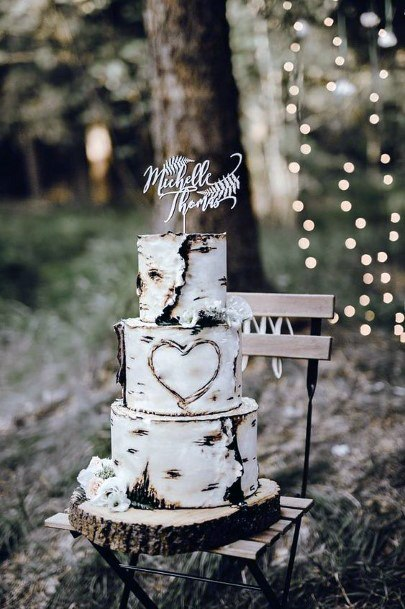 Aspen Tree Wedding Cake Design Carved Heart Rustic Wedding Ideas