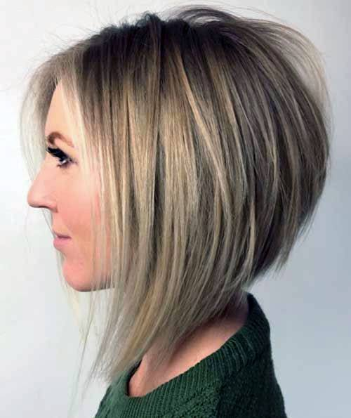 Assymetrical Blonde Chin Length Classic Bob Hairstyle