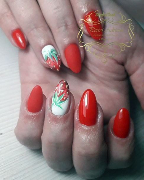 Astonishing Red Strawberry Nails For Ladies