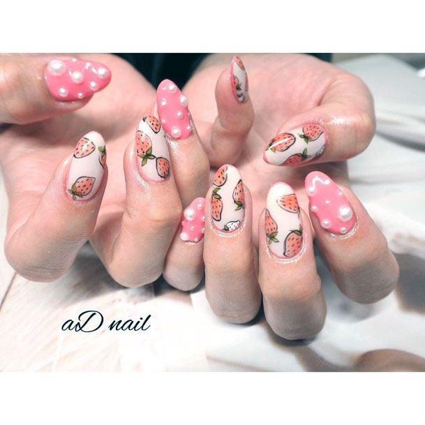 Astonishing Sweet Round Tip Pink White Strawberry Nail Design For Women