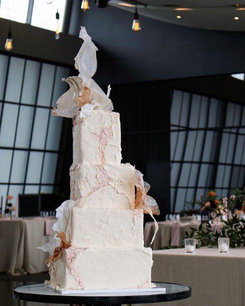 Astonishing White Square Wedding Cake