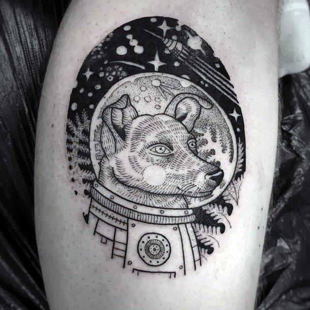 Astronaut Dog Tattoo For Women