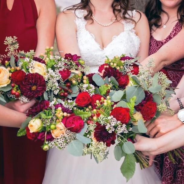 Attention Getting Christmas Wedding Flowers