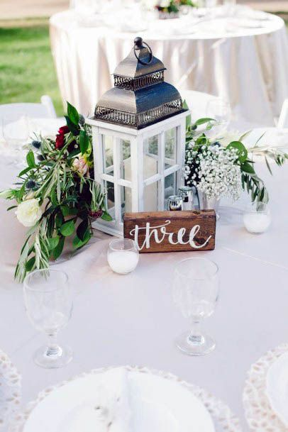 August Wedding Flowers And Lantern Stand