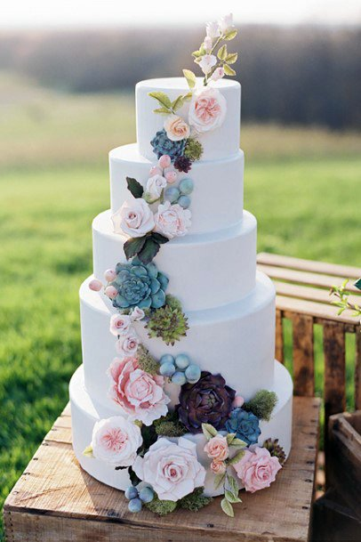 Authentic May Wedding Flowers On Cake
