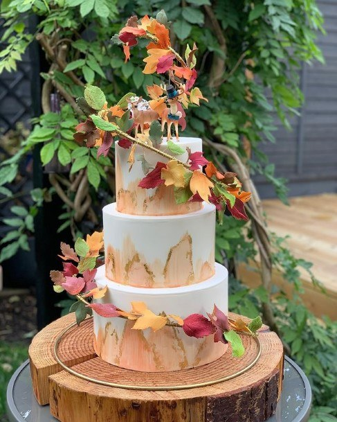 Autumn Leaved Rustic Wedding Cake Toppers