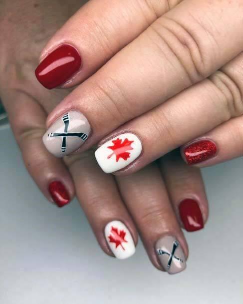 Autumn Leaved Sport Nails Red White Art For Women