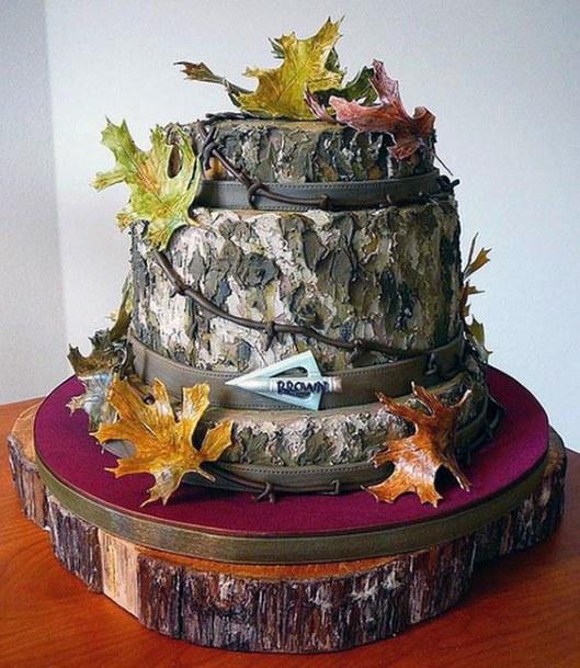 Autumn Leaves And Tree Bark Camo Wedding Cakes