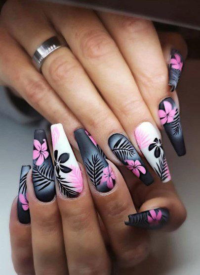 Awesome Black White And Light Pink Orchid Nail Design