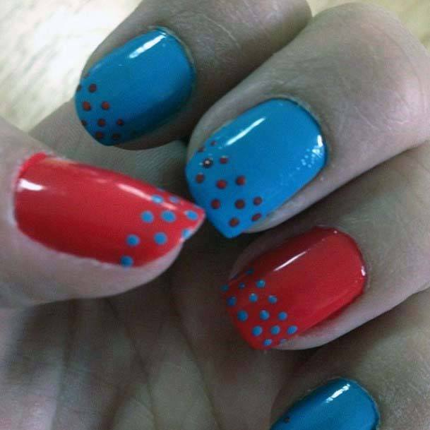 Awesome Dotted Blue And Orange Nails For Women
