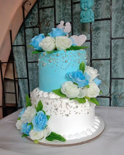 Baby Blue And White Wedding Cake