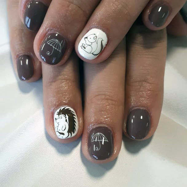 Baby Squirrels And Umbrella Art On Brown Nails Women