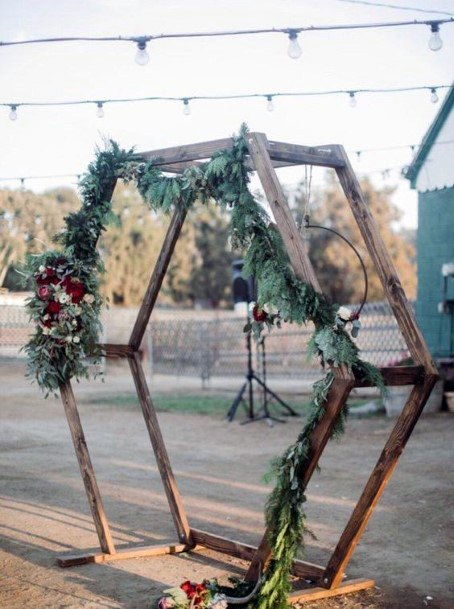 Backyard Wedding Ideas Hanging Lighting And Hand Made Arch
