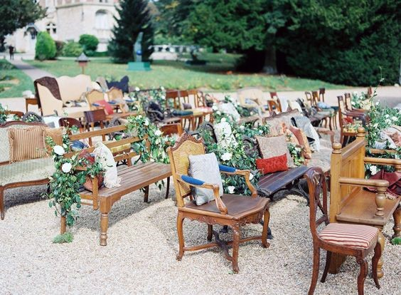 Backyard Wedding Ideas Mismatched And Vintage Seating