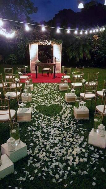 Backyard Wedding Ideas Night Time Ceremony With Mood Lighting