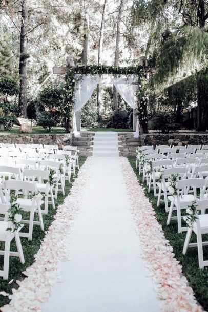 Backyard Wedding Ideas Outdoor Ceremony With Wooded Background
