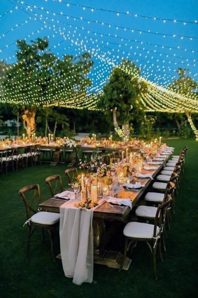 Backyard Wedding Ideas Outdoor Reception With Hanging Lights