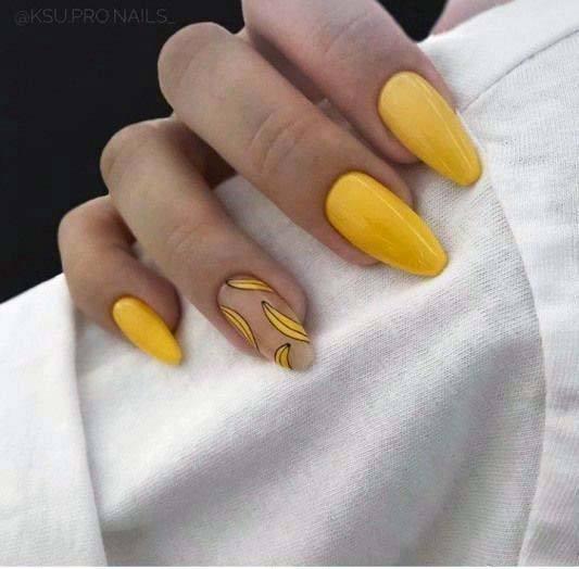 Banana Bright Yellow Nails For Women