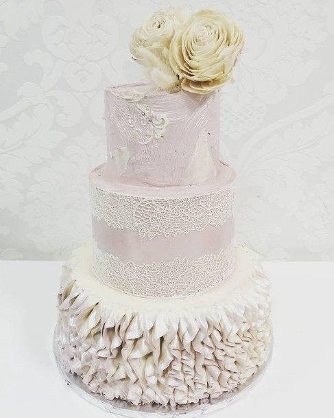 Bands Of Lace White Beautiful Wedding Cake