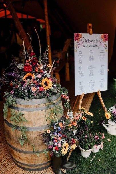Barrel And Rustic Wedding Flowers