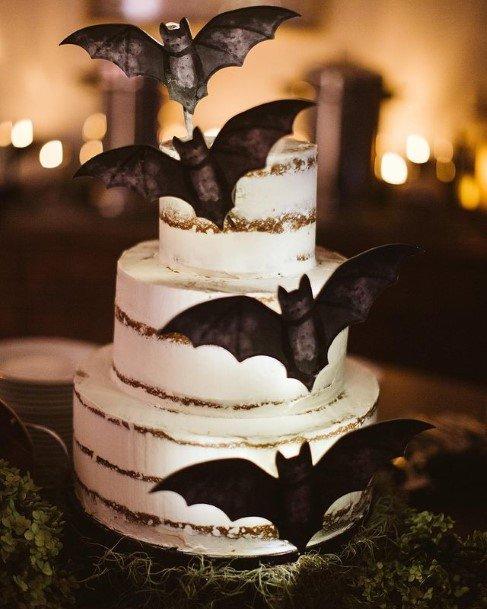 Bats Halloween Wedding Cake