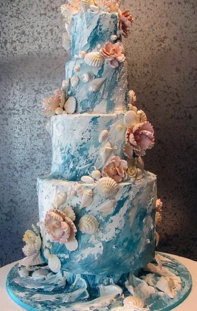 Beachy White And Aqua With Seashells Wedding Cake Ideas