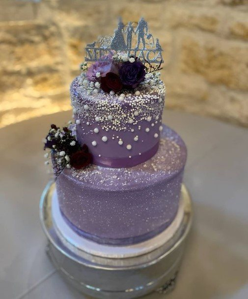 Beaded Cake Wedding Purple