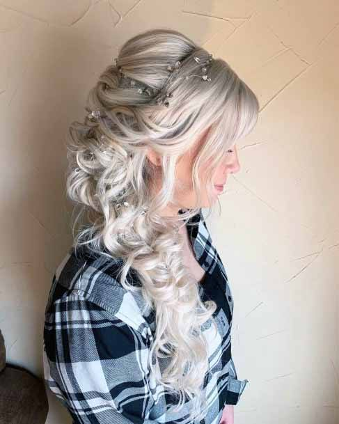 Beaded Cascading Silver Curls Hairstyle For Women