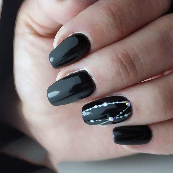 Beaded Chain Design On Black Nails Women