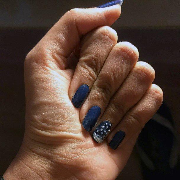 Beaded White Art On Blue Nails Snow Themed Women