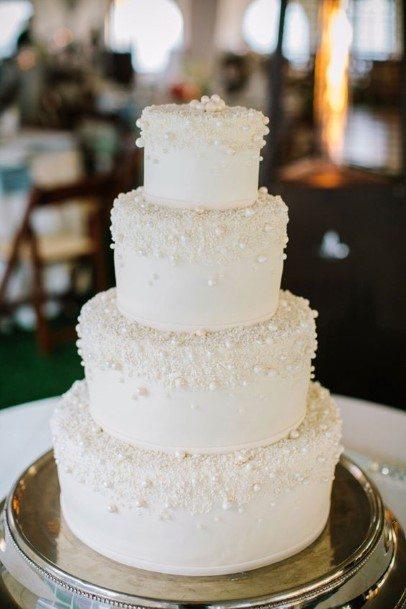 Beaded White Wedding Cake