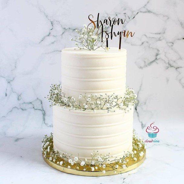 Beady White Buttercream Wedding Cake