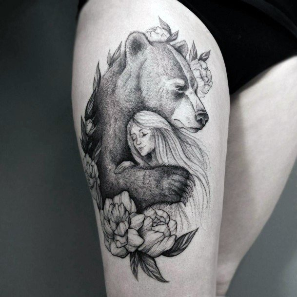 Bear And Long Golden Haired Lady Tattoo For Women Realistic