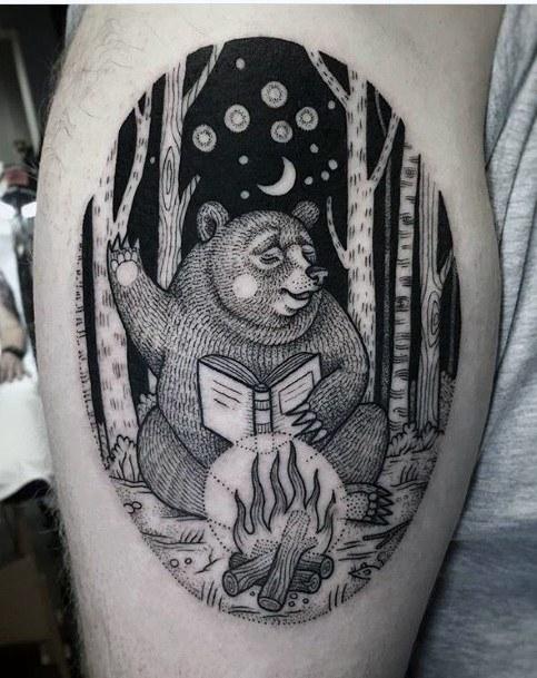 Bear Reading A Book Fire Place Forest Tattoo For Women Thighs Art