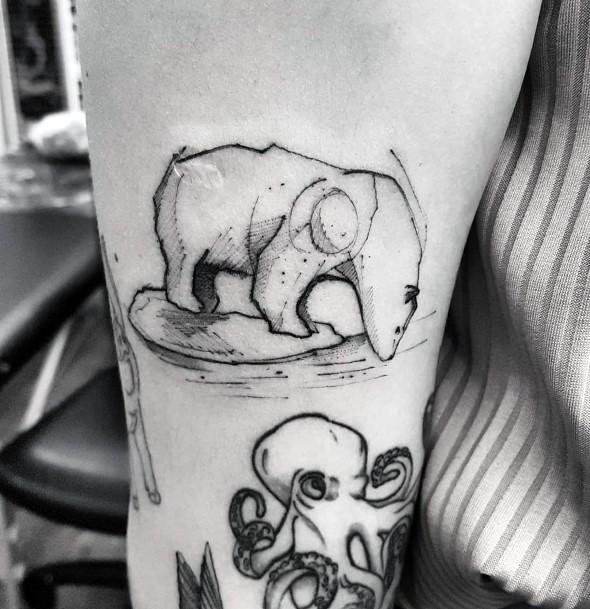 Bear Waddling In Water Tattoo For Women