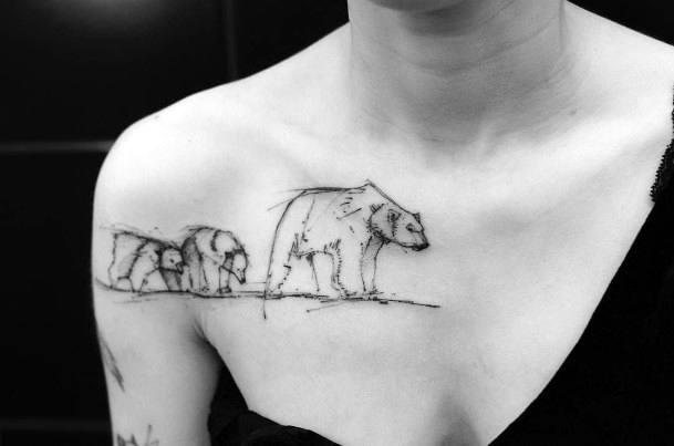 Bears In A Twig Tattoo Womens Chest