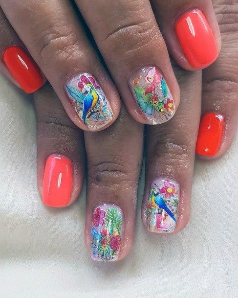 Beautiful Bird Tropical Nails Women