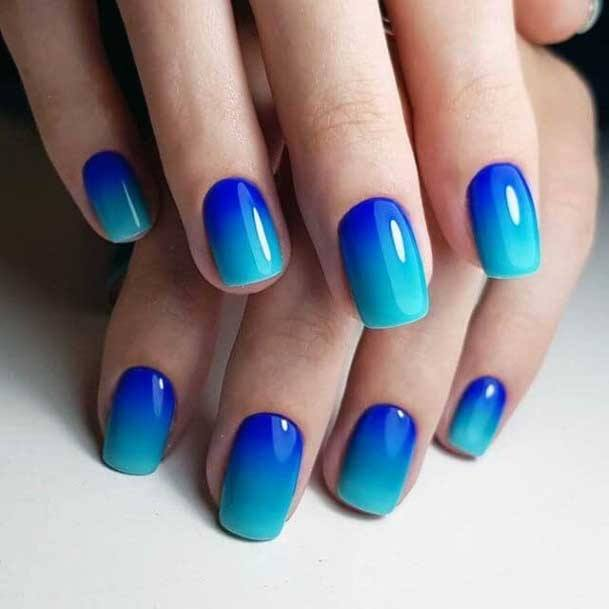 Beautiful Blue Ombre Nail Color Ideas For Women