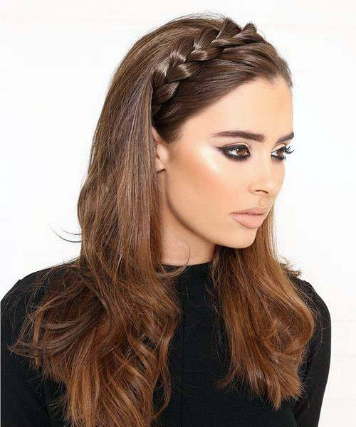 Beautiful Female With Chestnut Brown Hair And Loose Crown Braid