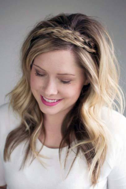 Beautiful Female With Long Loose Wavy Hairstyle And Braided Crown