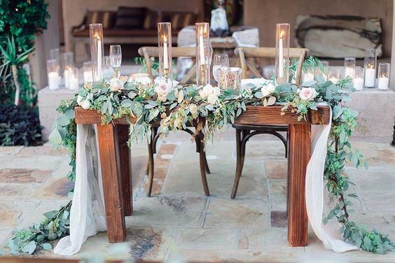 Beautiful Greenery Garland Sweetheart Table Decorations Rustic Wedding Ideas