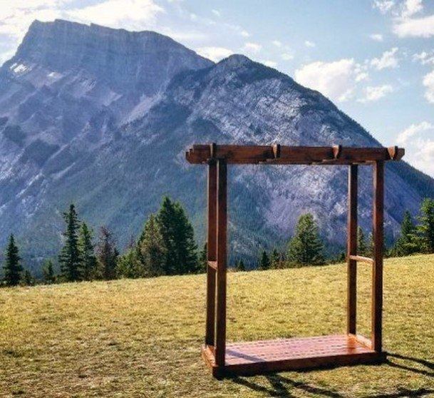 Beautiful Mountain Ceremony Backdrop Nature Rustic Wedding Ideas
