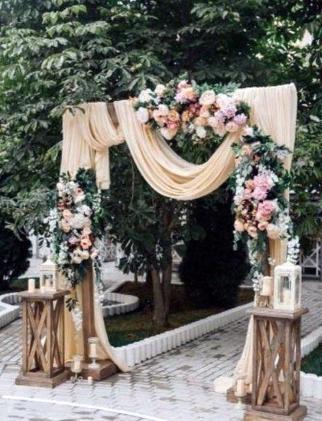 Beautiful Paved Walkway Ceremony Backyard Wedding Ideas
