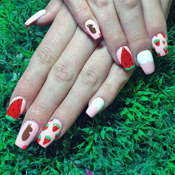 Beautiful Pink Red Strawberry Nail Design For Women