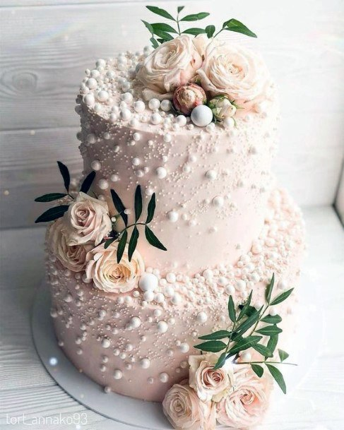 Beautiful Pink Tiered Cake With Blush Roses Wedding Cake Ideas