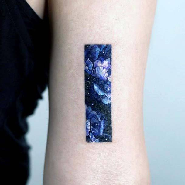 Beautiful Rectangular Frame In Blue Small Cute Tattoo For Women