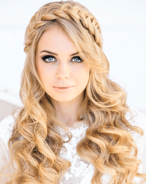 Beautiful Thick Blonde Hair With Braided Crown And Cascading Full Curls