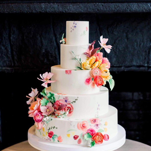 Beautiful Wedding Cake With June Flowers