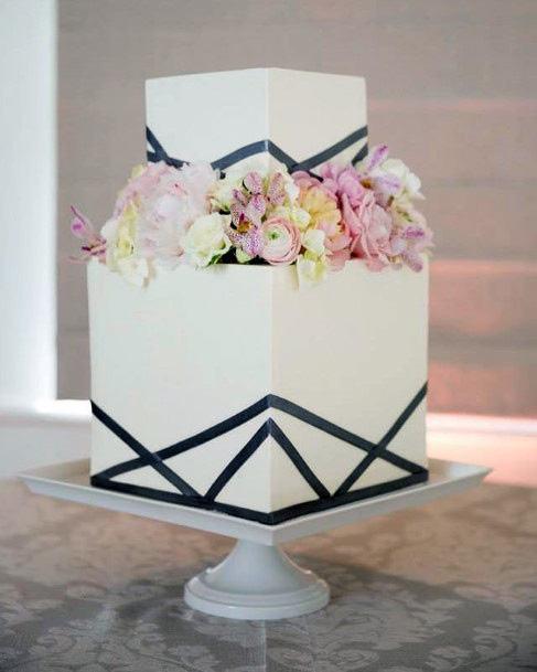 Beautiful White Square Wedding Cake With Black Art