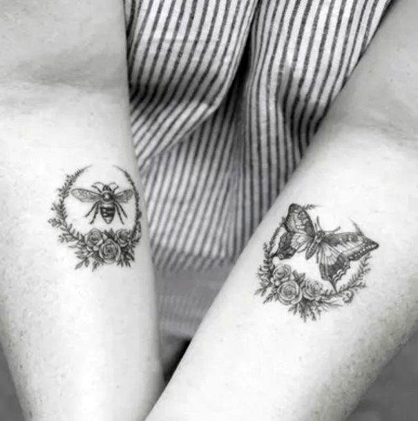 Bee And Butterfly Tattoo Womens Hands